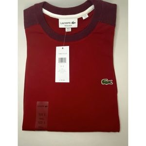 Lacoste Men's Tee in Red and Maroon